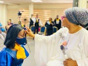 33ec348a61f2fc4458a61dd9b48d58ab 300x225 - Richest Woman In Nigeria,Folorunso Alakija Caught Anointing Her Church Members