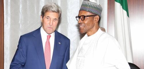 President Muhammadu Buhari and US Secretary of State, John Kerry Photo Credit: State House