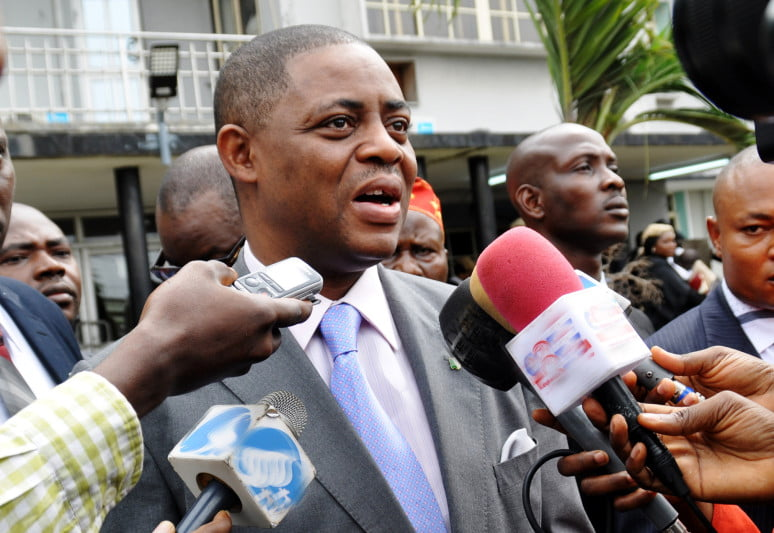 Chief Fani-Kayode granting an interview at the high court premises in Lagos