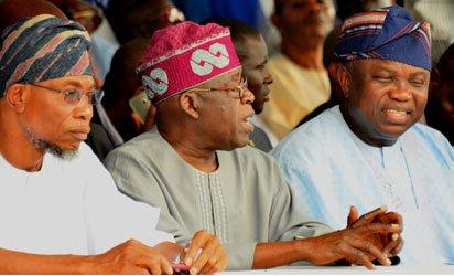 Osun State Governor, Ogbeni Rauf Aregbesola; APC National Leader, Asiwaju Bola Tinubu and Lagos State Governor, Akinwumi Ambode