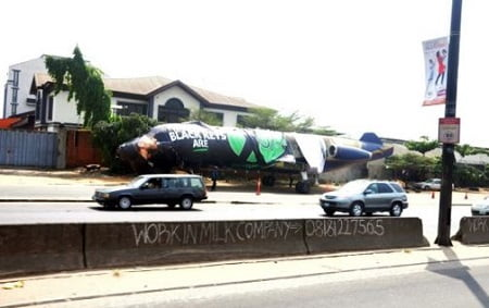 The aircraft positioned on the road
