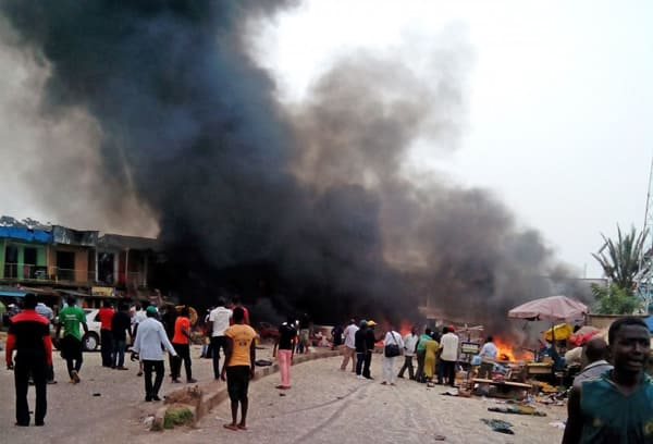 A scene of a Boko Haram attack in the north-eastern part of Nigeria