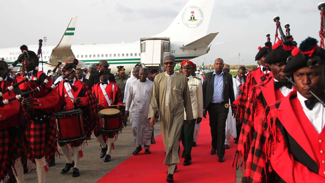 President Muhammadu Buhari at Nnamdi Azikiwe International airport Abuja .