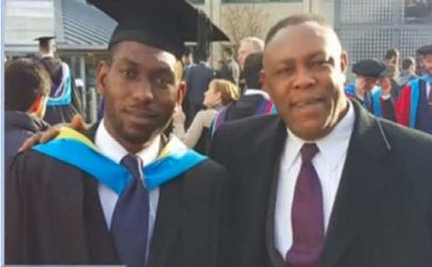 Valentine and his 'dad' Oscar at his graduation from university in Britain.