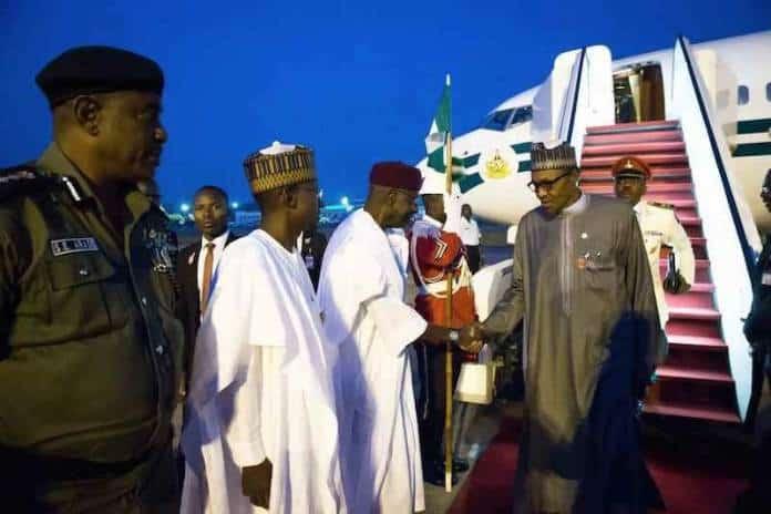 Buhari Returns - Buhari Back To Abuja After CEN SAD Summit In Chad