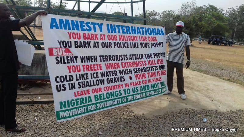 Protesters in Abuja demanding Amnesty International to leave Nigeria