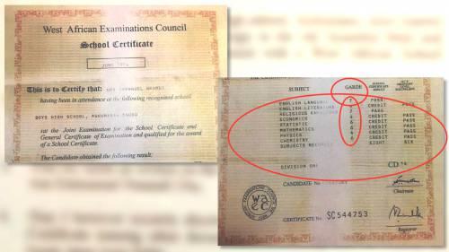 The fake WAEC result tendered by Senator Andy Uba