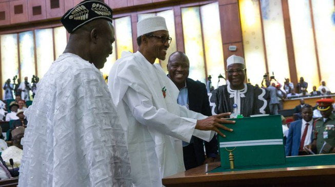 BuhariPresents2016Budget21 653x365 - Finally, National Assembly Sends 2019 Budget To Buhari