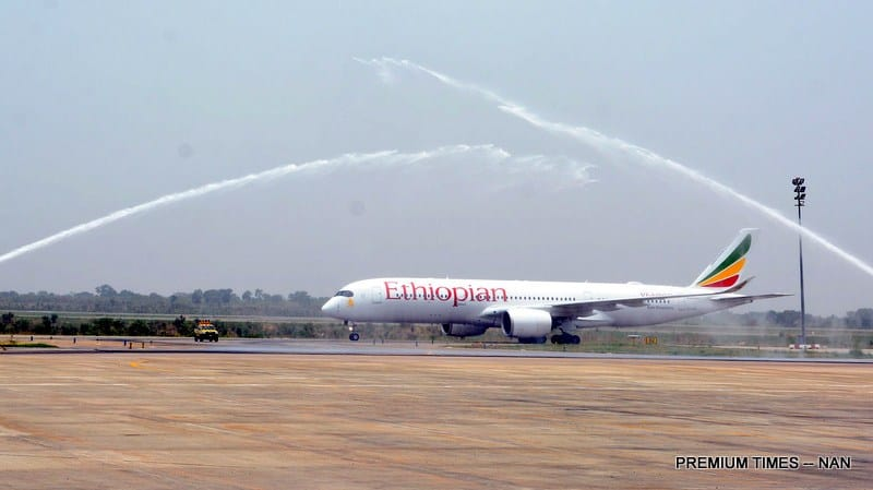Ethiopian Airline arriving the Nnamadi Azikiwe International Airport Abuja as the first Flight after rehabilitation of the Runway in Abuja on Tuesday