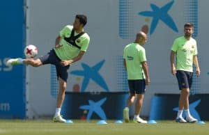 (From L) Barcelona's Sergio Busquets, Javier Mascherano and Gerard Pique take part in a training session in Sant Joan Despi on May 26, 2017, on the eve of their Spanish King's Cup final match against Deportivo Alaves