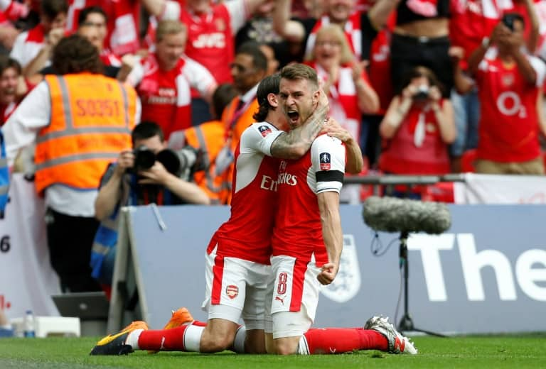 AFP / Ian KINGTONChelsea's Diego Costa (C) tied the game with a second-half strike, but Arsenal's Aaron Ramsey replied within minutes with an FA Cup-winning header