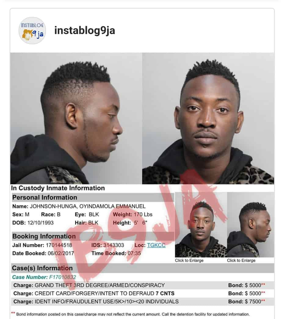 Nigerian singer Dammy Krane arrested for credit card fraud in U. S