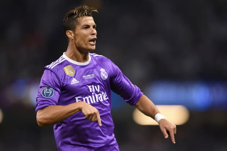 Real Madrid's striker Cristiano Ronaldo celebrates after scoring during the UEFA Champions League final on June 3, 2017