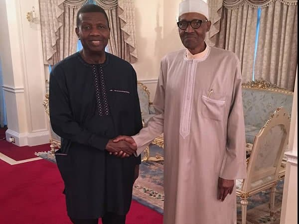 Buhari and Adeboye - Pastor Adeboye Reveals Why Buhari Can't Sack Service Chiefs