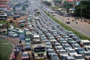Traffice jam at Mararaba Nyanya road 300x199 - Car Catches Fire On Lagos-Ibadan Expressway, Causes Major Gridlock