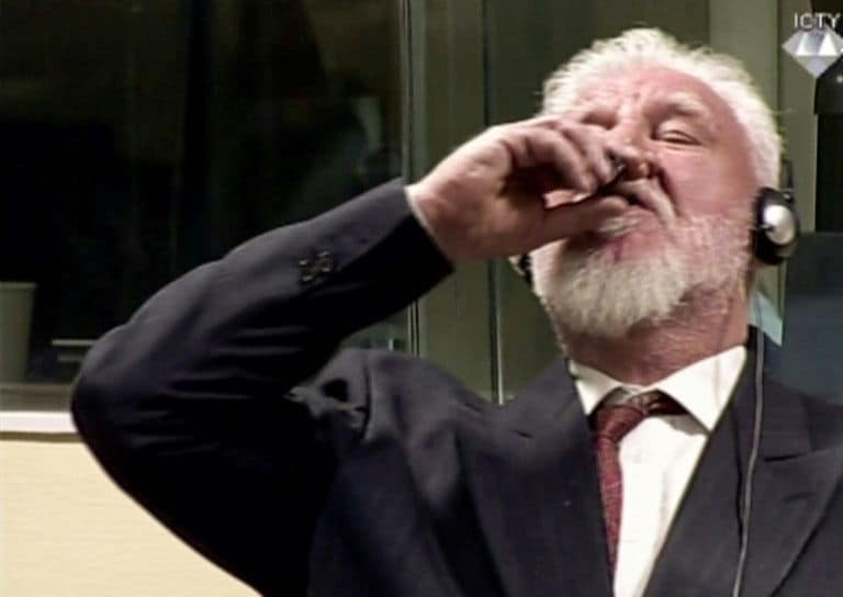 Bosnian-Croat war crimes suspect Slobodan Praljak 'takes poison' in United Nations court