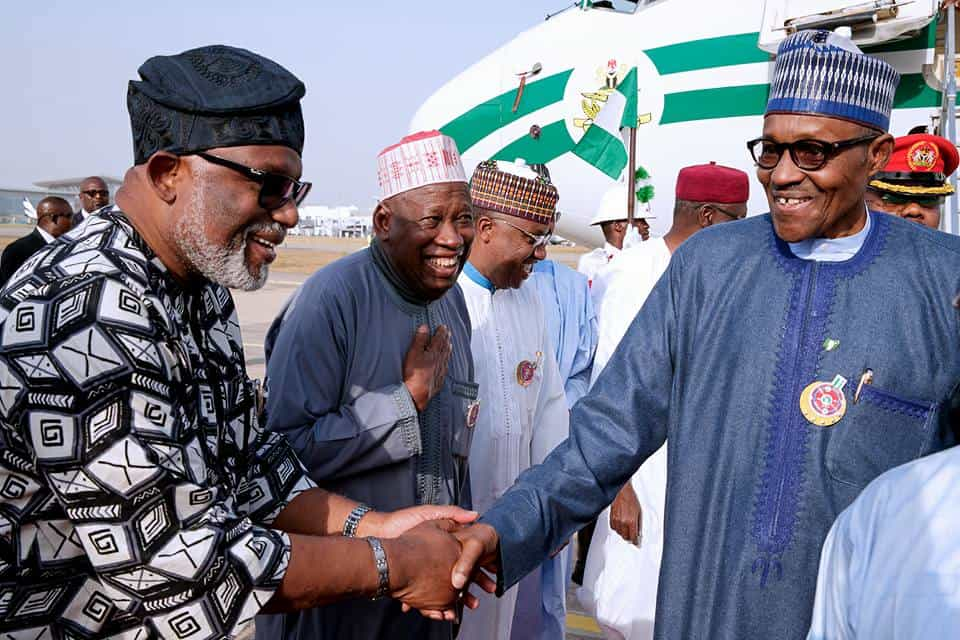 #PMBAt75: Gov. Amosun presents giant birthday card to Buhari