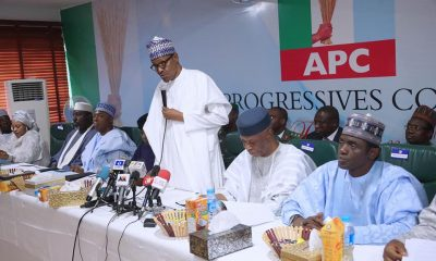 President Buhari at the APC NEC meeting where he declared his second term ambition