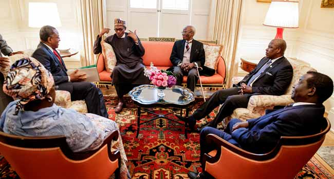 President Buhari with Nigerian Ambassador to USA Amb. Sylvanus Nsofor, Governor Ibikunle Amosun of Ogun State, Governor Simon Lalung of Plateau State, Chairman Senate Committee on Foreign Affairs Senator Monsurat Sunmonu and Minister of Foreign Affairs geoffrey Onyeama shortly after arriving Washington DC ahead of his Working Visit