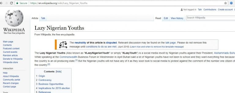 #LazyNigerianYouth Gets Wikipedia Page