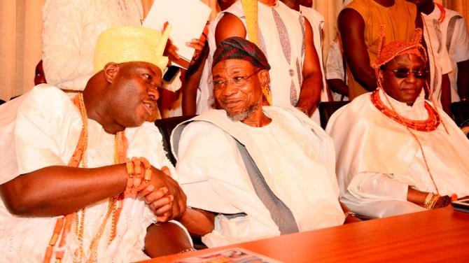 he Ooni of Ife, Oba Adeyeye Ogunwusi ,Governor Rauf Aregbesola and the Oba of Benin, Omo N'oba N'Edo Uku Akpolokpolo, Ewuare Ogidigan II,