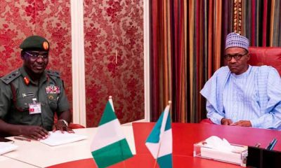 President Muhammadu Buhari and Chief of Army Staff (COAS), Lieutenant General Tukur Buratai during a meeting at the presidential villa in Abuja