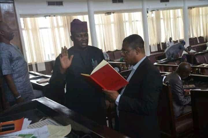 Fajolu-being-sworn-in-as-the-deputy-speaker