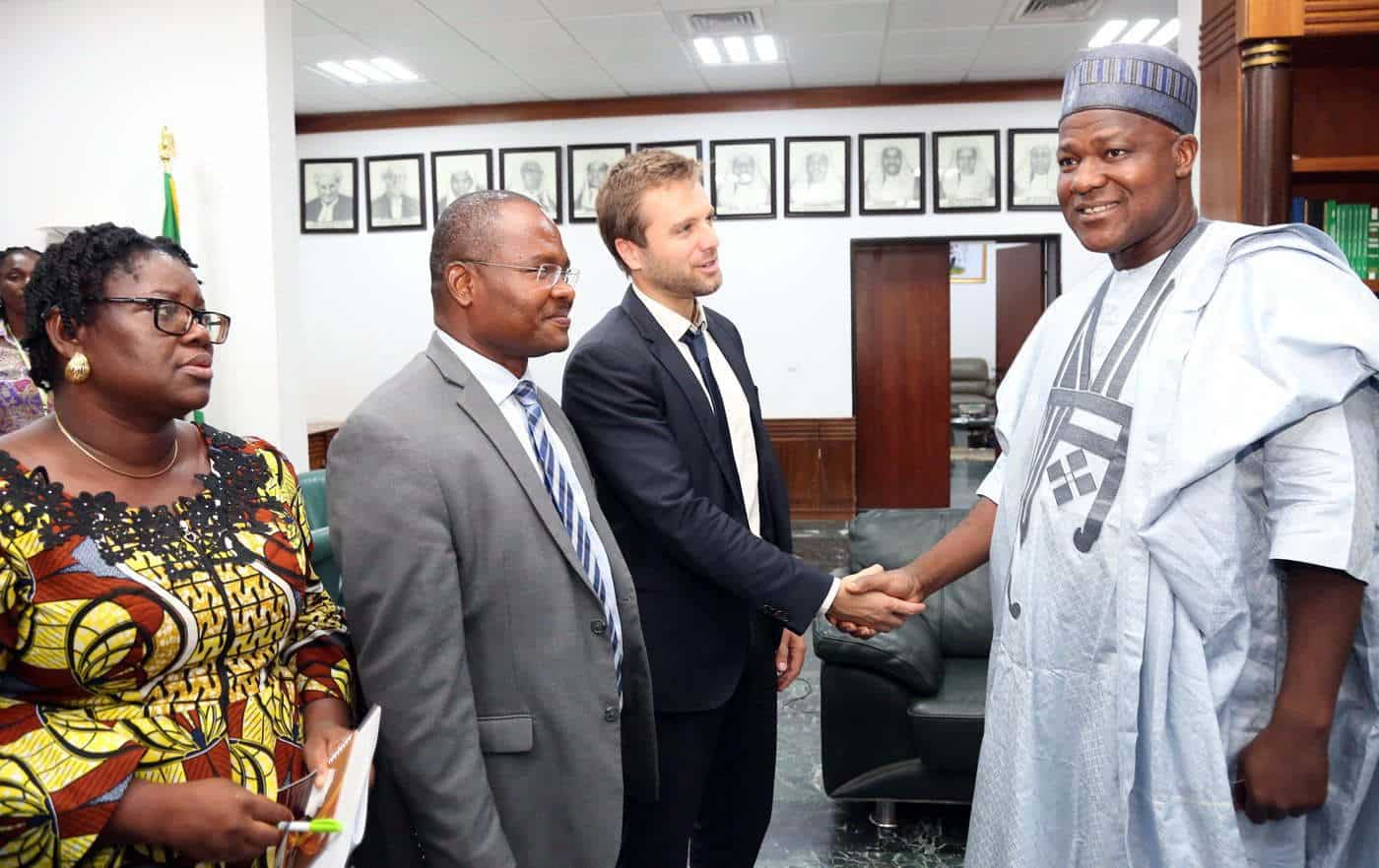R - L , Speaker, House of Representatives, Rt. Hon. Yakubu Dogara, Mr. Jean Conte of Democratic Control for Reform of Armed Forces Switzerland ( DCAF) Director, Policy & Legal Advocacy Centre (PLAC ), Mr. Clement Nwankwo and Mrs. Uju Agomoh during a courtesy visit to the Speaker by a delegation from Security Justice Sector Reform of Civil Society organisations in Nigeria at the National Assembly on Tuesday 5th June, 2018. Photo : Speaker's Media Office.