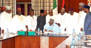 Pic 2 SIGNING OF BUDGET 300x159 - MTEF Project: Federal Government Approves ₦12.6trn Budget For Three Years