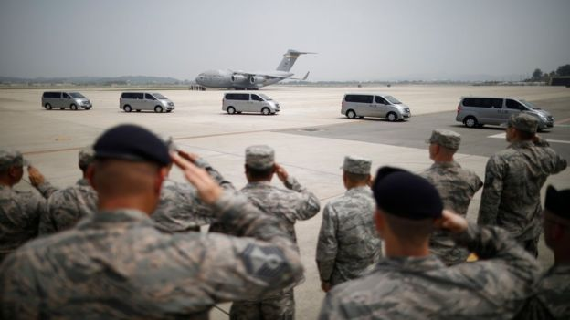 Trump Thanks N.Korea As Remains Of 55 U.S Soldiers Returns Home