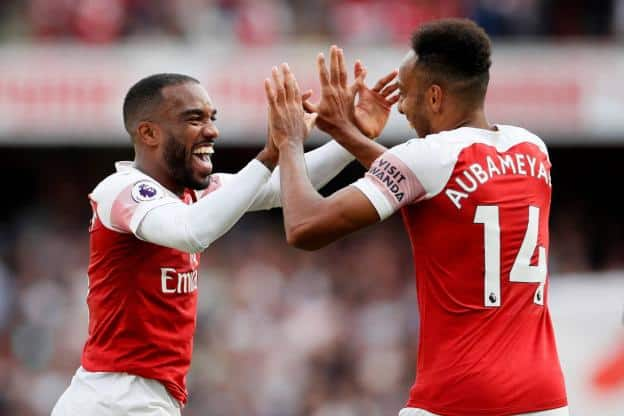 Alexandre Lacazette and Pierre-Emerick Aubameyang, Saturday afternoon at the Emir Ates. Reuters