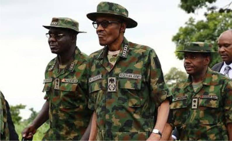 Buhari in army uniform - Defence Headquarters Speaks On New Salary Scale For The Armed Forces Of Nigeria