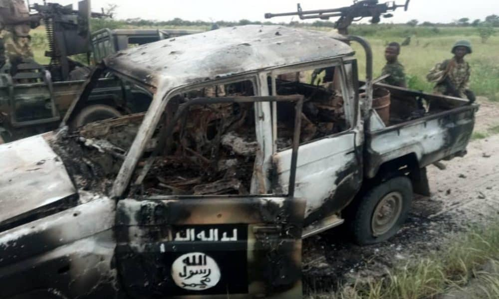 Burnt Boko Haram Vehicle 1000x600 - FG Says Buhari Has Dealt With Boko Haram