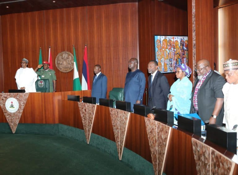 PRESIDENT BUHARI PRESIDES OVER FEC MEETING 3 1 768x565 2 - Former Ministers Still In Buhari's Cabinet On FG's N64m Website