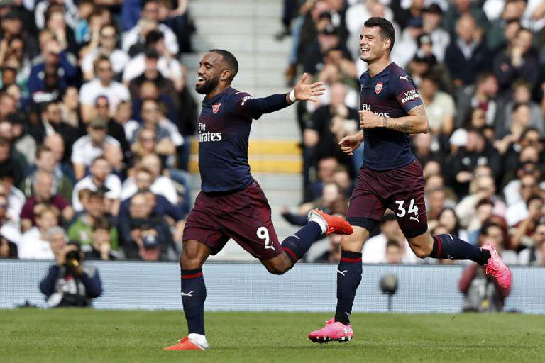 Lacazette scored the first goal of Arsenal's thrashing over Fullham