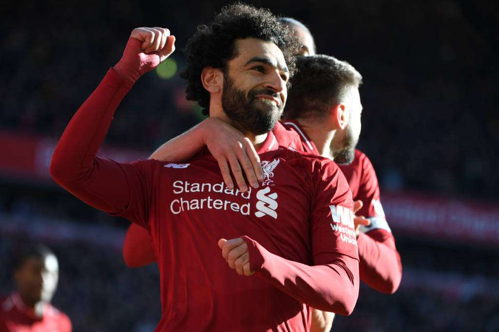 Salah scored Liverpool's first goal in the win against Cardiff
