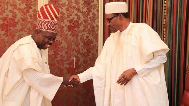 Amosun And Buhari In Closed Door Meeting
