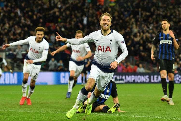 Eriksen celebrates goal for Tottenham's victory over Inter Milan at Wembley