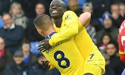 Frenchman N'Golo Kanté scorer for Chelsea against Crystal Palace and congratulated by teammate Ross Barkley on December 30, 2018 at Selhurst Park
