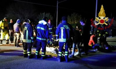 Image provided by the rescue services of injured persons treated outside the discotheque in Ancona, December 8, 2018