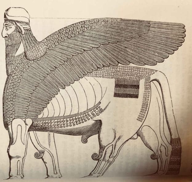 The lamassu has the body of a bull, the wings of an eagle and the head of a man