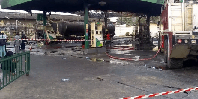 Panic In Ikeja, Lagos As Fire Breaks Out At Forte Oil Petrol Station.