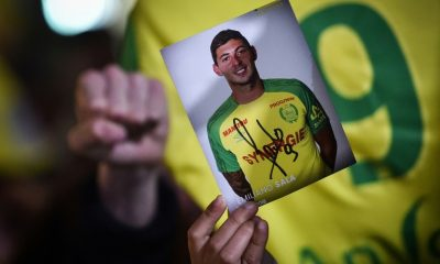 A picture of Emiliano Sala brandished at a rally in his memory, January 22, 2019 in Nantes