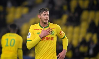 Argentine striker Emiliano Sala, in Nantes jersey, against Montpellier on January 9, 2018 in La Beaujoire