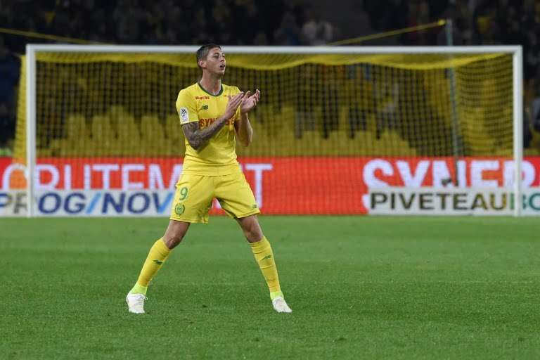 Argentinean striker Emiliano Sala of Nantes in a Ligue 1 match against Toulouse in La Beaujoire on 20 October 2018