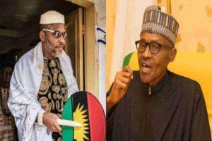 Nnamdi Kanu and Buhari 300x200 - Biafra: Buhari Govt Tables Fresh Request Before Court Over Nnamdi Kanu's Bail