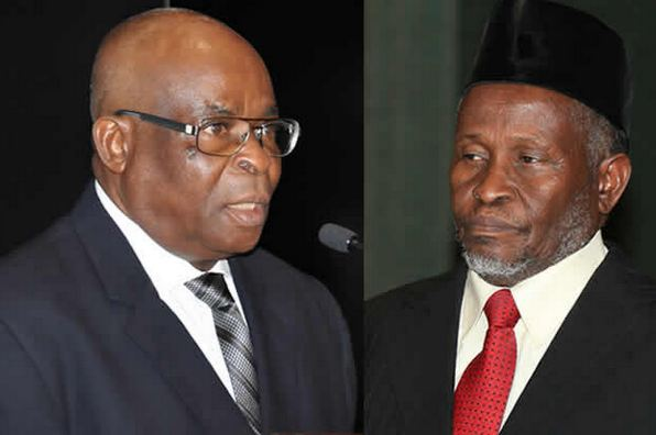 Onnoghen and Muhammad - Lawyer Sues Buhari, FG, NJC Over Appointment Of Tanko Muhammad As CJN