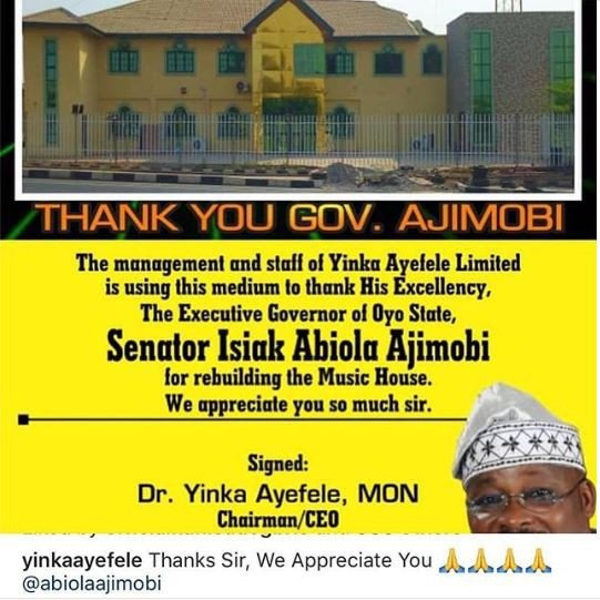 Yinka Ayefele - Yinka Ayefele Appreciates Oyo State Government For Rebuilding His Music House