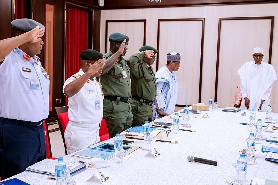 President Buhari Meets Security Chiefs In Aso Villa