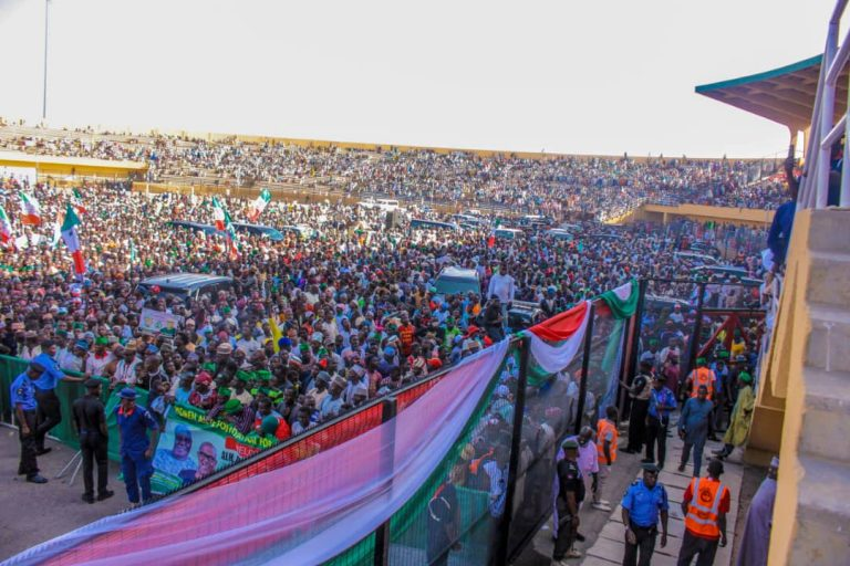 Atiku in Katsina2 768x512 - Photos: Mammoth Crowd As Buhari Takes Campaign To Atiku's State, Adamawa